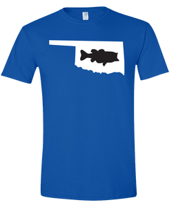 Short Sleeve T-Shirt Oklahoma Royal Large Mouth Bass Vibrant Design High Quality Tight Knit Ring Spun Low Maintenance Cotton Printed With The Newest Available Color Transfer Technology
