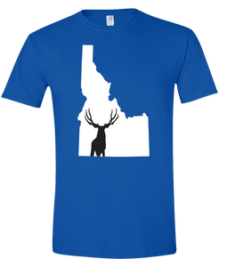 Short Sleeve T-Shirt Idaho Royal Mule Deer Vibrant Design High Quality Tight Knit Ring Spun Low Maintenance Cotton Printed With The Newest Available Color Transfer Technology