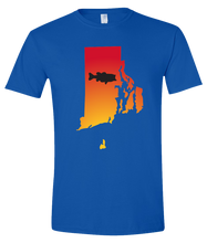 Load image into Gallery viewer, Short Sleeve T-Shirt Rhode Island Royal Large Mouth Bass Vibrant Design High Quality Tight Knit Ring Spun Low Maintenance Cotton Printed With The Newest Available Color Transfer Technology