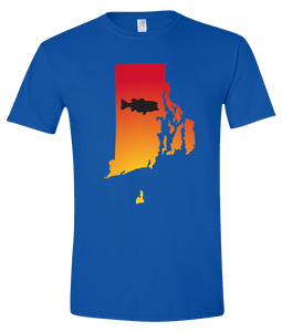 Short Sleeve T-Shirt Rhode Island Royal Large Mouth Bass Vibrant Design High Quality Tight Knit Ring Spun Low Maintenance Cotton Printed With The Newest Available Color Transfer Technology