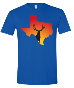 Short Sleeve T-Shirt Texas Royal Mule Deer Vibrant Design High Quality Tight Knit Ring Spun Low Maintenance Cotton Printed With The Newest Available Color Transfer Technology