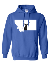 Load image into Gallery viewer, Pullover Hooded Sweatshirt Montana Royal Mule Deer Vibrant Design High Quality Tight Knit Ring Spun Low Maintenance Cotton Printed With The Newest Available Color Transfer Technology
