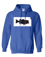 Load image into Gallery viewer, Pullover Hooded Sweatshirt Kansas Royal Large Mouth Bass Vibrant Design High Quality Tight Knit Ring Spun Low Maintenance Cotton Printed With The Newest Available Color Transfer Technology