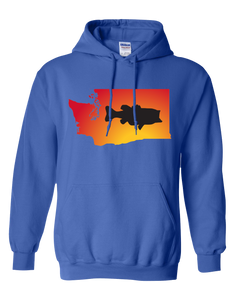Pullover Hooded Sweatshirt Washington Royal Large Mouth Bass Vibrant Design High Quality Tight Knit Ring Spun Low Maintenance Cotton Printed With The Newest Available Color Transfer Technology