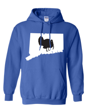Load image into Gallery viewer, Pullover Hooded Sweatshirt Connecticut Royal Turkey Vibrant Design High Quality Tight Knit Ring Spun Low Maintenance Cotton Printed With The Newest Available Color Transfer Technology