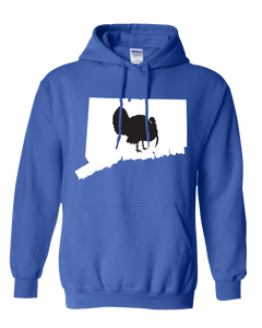 Pullover Hooded Sweatshirt Connecticut Royal Turkey Vibrant Design High Quality Tight Knit Ring Spun Low Maintenance Cotton Printed With The Newest Available Color Transfer Technology