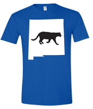 Load image into Gallery viewer, Short Sleeve T-Shirt New Mexico Royal Mountain Lion Vibrant Design High Quality Tight Knit Ring Spun Low Maintenance Cotton Printed With The Newest Available Color Transfer Technology