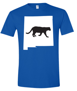 Short Sleeve T-Shirt New Mexico Royal Mountain Lion Vibrant Design High Quality Tight Knit Ring Spun Low Maintenance Cotton Printed With The Newest Available Color Transfer Technology