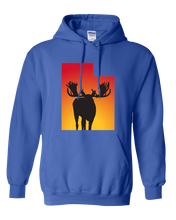 Load image into Gallery viewer, Pullover Hooded Sweatshirt Utah Royal Moose Vibrant Design High Quality Tight Knit Ring Spun Low Maintenance Cotton Printed With The Newest Available Color Transfer Technology