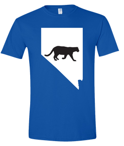 Short Sleeve T-Shirt Nevada Royal Mountain Lion Vibrant Design High Quality Tight Knit Ring Spun Low Maintenance Cotton Printed With The Newest Available Color Transfer Technology