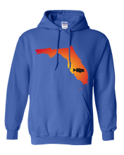 Load image into Gallery viewer, Pullover Hooded Sweatshirt Florida Royal Large Mouth Bass Vibrant Design High Quality Tight Knit Ring Spun Low Maintenance Cotton Printed With The Newest Available Color Transfer Technology