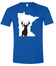 Load image into Gallery viewer, Short Sleeve T-Shirt Minnesota Royal Whitetail Deer Vibrant Design High Quality Tight Knit Ring Spun Low Maintenance Cotton Printed With The Newest Available Color Transfer Technology