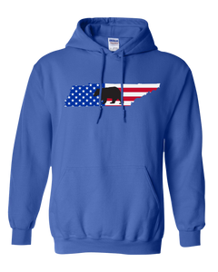Pullover Hooded Sweatshirt Tennessee Royal Black Bear Vibrant Design High Quality Tight Knit Ring Spun Low Maintenance Cotton Printed With The Newest Available Color Transfer Technology