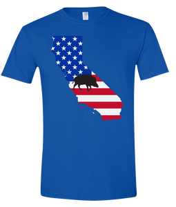 Short Sleeve T-Shirt California Royal Wild Hog Vibrant Design High Quality Tight Knit Ring Spun Low Maintenance Cotton Printed With The Newest Available Color Transfer Technology