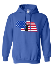 Load image into Gallery viewer, Pullover Hooded Sweatshirt Nebraska Royal Whitetail Deer Vibrant Design High Quality Tight Knit Ring Spun Low Maintenance Cotton Printed With The Newest Available Color Transfer Technology