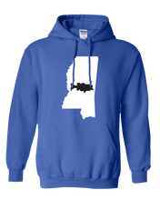 Load image into Gallery viewer, Pullover Hooded Sweatshirt Mississippi Royal Large Mouth Bass Vibrant Design High Quality Tight Knit Ring Spun Low Maintenance Cotton Printed With The Newest Available Color Transfer Technology