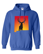 Load image into Gallery viewer, Pullover Hooded Sweatshirt New Mexico Royal Mule Deer Vibrant Design High Quality Tight Knit Ring Spun Low Maintenance Cotton Printed With The Newest Available Color Transfer Technology