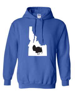 Pullover Hooded Sweatshirt Idaho Royal Turkey Vibrant Design High Quality Tight Knit Ring Spun Low Maintenance Cotton Printed With The Newest Available Color Transfer Technology