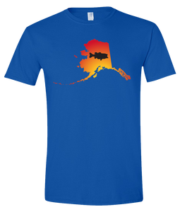 Short Sleeve T-Shirt Alaska Royal Large Mouth Bass Vibrant Design High Quality Tight Knit Ring Spun Low Maintenance Cotton Printed With The Newest Available Color Transfer Technology