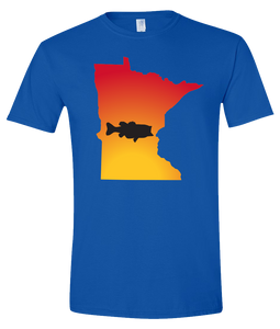 Short Sleeve T-Shirt Minnesota Royal Large Mouth Bass Vibrant Design High Quality Tight Knit Ring Spun Low Maintenance Cotton Printed With The Newest Available Color Transfer Technology