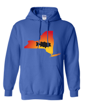 Load image into Gallery viewer, Pullover Hooded Sweatshirt New York Royal Large Mouth Bass Vibrant Design High Quality Tight Knit Ring Spun Low Maintenance Cotton Printed With The Newest Available Color Transfer Technology