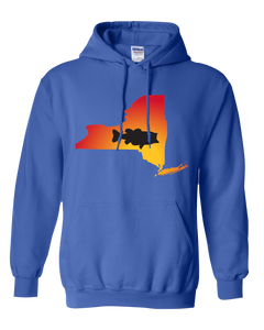 Pullover Hooded Sweatshirt New York Royal Large Mouth Bass Vibrant Design High Quality Tight Knit Ring Spun Low Maintenance Cotton Printed With The Newest Available Color Transfer Technology