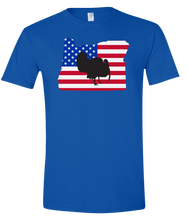 Load image into Gallery viewer, Short Sleeve T-Shirt Oregon Royal Turkey Vibrant Design High Quality Tight Knit Ring Spun Low Maintenance Cotton Printed With The Newest Available Color Transfer Technology
