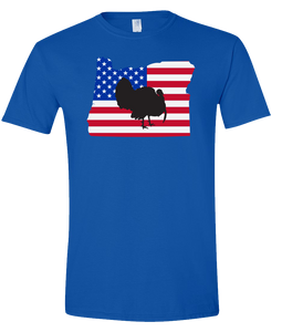 Short Sleeve T-Shirt Oregon Royal Turkey Vibrant Design High Quality Tight Knit Ring Spun Low Maintenance Cotton Printed With The Newest Available Color Transfer Technology