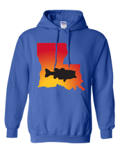 Load image into Gallery viewer, Pullover Hooded Sweatshirt Louisiana Royal Large Mouth Bass Vibrant Design High Quality Tight Knit Ring Spun Low Maintenance Cotton Printed With The Newest Available Color Transfer Technology