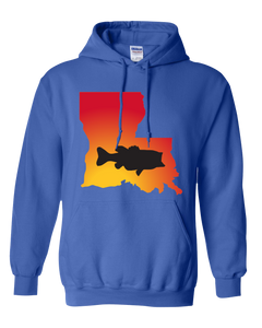 Pullover Hooded Sweatshirt Louisiana Royal Large Mouth Bass Vibrant Design High Quality Tight Knit Ring Spun Low Maintenance Cotton Printed With The Newest Available Color Transfer Technology