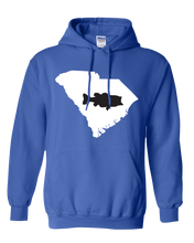 Load image into Gallery viewer, Pullover Hooded Sweatshirt South Carolina Royal Large Mouth Bass Vibrant Design High Quality Tight Knit Ring Spun Low Maintenance Cotton Printed With The Newest Available Color Transfer Technology