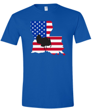 Load image into Gallery viewer, Short Sleeve T-Shirt Louisiana Royal Turkey Vibrant Design High Quality Tight Knit Ring Spun Low Maintenance Cotton Printed With The Newest Available Color Transfer Technology