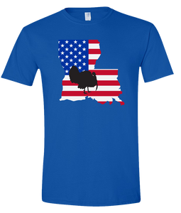 Short Sleeve T-Shirt Louisiana Royal Turkey Vibrant Design High Quality Tight Knit Ring Spun Low Maintenance Cotton Printed With The Newest Available Color Transfer Technology