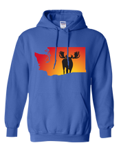 Load image into Gallery viewer, Pullover Hooded Sweatshirt Washington Royal Moose Vibrant Design High Quality Tight Knit Ring Spun Low Maintenance Cotton Printed With The Newest Available Color Transfer Technology