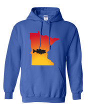 Load image into Gallery viewer, Pullover Hooded Sweatshirt Minnesota Royal Large Mouth Bass Vibrant Design High Quality Tight Knit Ring Spun Low Maintenance Cotton Printed With The Newest Available Color Transfer Technology