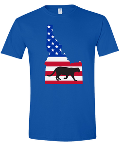 Short Sleeve T-Shirt Idaho Royal Mountain Lion Vibrant Design High Quality Tight Knit Ring Spun Low Maintenance Cotton Printed With The Newest Available Color Transfer Technology