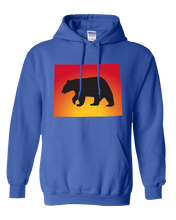 Load image into Gallery viewer, Pullover Hooded Sweatshirt Wyoming Royal Black Bear Vibrant Design High Quality Tight Knit Ring Spun Low Maintenance Cotton Printed With The Newest Available Color Transfer Technology