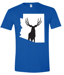 Short Sleeve T-Shirt Arizona Royal Mule Deer Vibrant Design High Quality Tight Knit Ring Spun Low Maintenance Cotton Printed With The Newest Available Color Transfer Technology