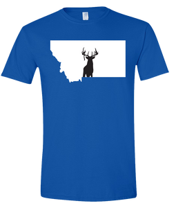 Short Sleeve T-Shirt Montana Royal Whitetail Deer Vibrant Design High Quality Tight Knit Ring Spun Low Maintenance Cotton Printed With The Newest Available Color Transfer Technology