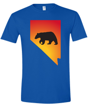Load image into Gallery viewer, Short Sleeve T-Shirt Nevada Royal Black Bear Vibrant Design High Quality Tight Knit Ring Spun Low Maintenance Cotton Printed With The Newest Available Color Transfer Technology