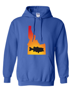 Pullover Hooded Sweatshirt Idaho Royal Large Mouth Bass Vibrant Design High Quality Tight Knit Ring Spun Low Maintenance Cotton Printed With The Newest Available Color Transfer Technology