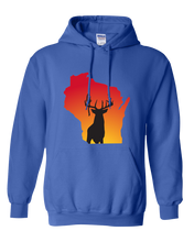 Load image into Gallery viewer, Pullover Hooded Sweatshirt Wisconsin Royal Whitetail Deer Vibrant Design High Quality Tight Knit Ring Spun Low Maintenance Cotton Printed With The Newest Available Color Transfer Technology