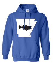 Load image into Gallery viewer, Pullover Hooded Sweatshirt Arkansas Royal Large Mouth Bass Vibrant Design High Quality Tight Knit Ring Spun Low Maintenance Cotton Printed With The Newest Available Color Transfer Technology