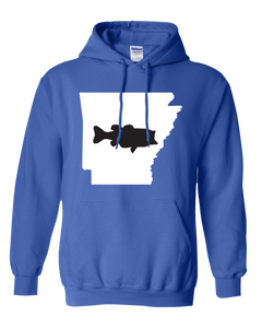 Pullover Hooded Sweatshirt Arkansas Royal Large Mouth Bass Vibrant Design High Quality Tight Knit Ring Spun Low Maintenance Cotton Printed With The Newest Available Color Transfer Technology