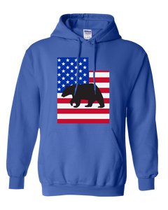Pullover Hooded Sweatshirt Utah Royal Black Bear Vibrant Design High Quality Tight Knit Ring Spun Low Maintenance Cotton Printed With The Newest Available Color Transfer Technology