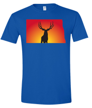 Load image into Gallery viewer, Short Sleeve T-Shirt North Dakota Royal Mule Deer Vibrant Design High Quality Tight Knit Ring Spun Low Maintenance Cotton Printed With The Newest Available Color Transfer Technology