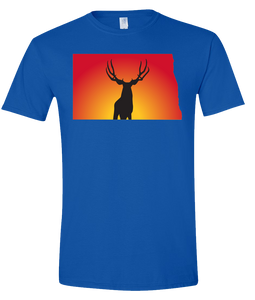 Short Sleeve T-Shirt North Dakota Royal Mule Deer Vibrant Design High Quality Tight Knit Ring Spun Low Maintenance Cotton Printed With The Newest Available Color Transfer Technology