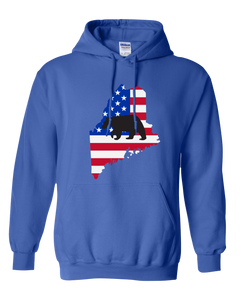Pullover Hooded Sweatshirt Maine Royal Black Bear Vibrant Design High Quality Tight Knit Ring Spun Low Maintenance Cotton Printed With The Newest Available Color Transfer Technology