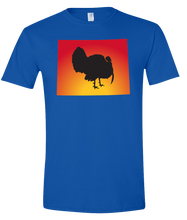 Load image into Gallery viewer, Short Sleeve T-Shirt Wyoming Royal Turkey Vibrant Design High Quality Tight Knit Ring Spun Low Maintenance Cotton Printed With The Newest Available Color Transfer Technology