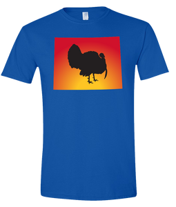 Short Sleeve T-Shirt Wyoming Royal Turkey Vibrant Design High Quality Tight Knit Ring Spun Low Maintenance Cotton Printed With The Newest Available Color Transfer Technology